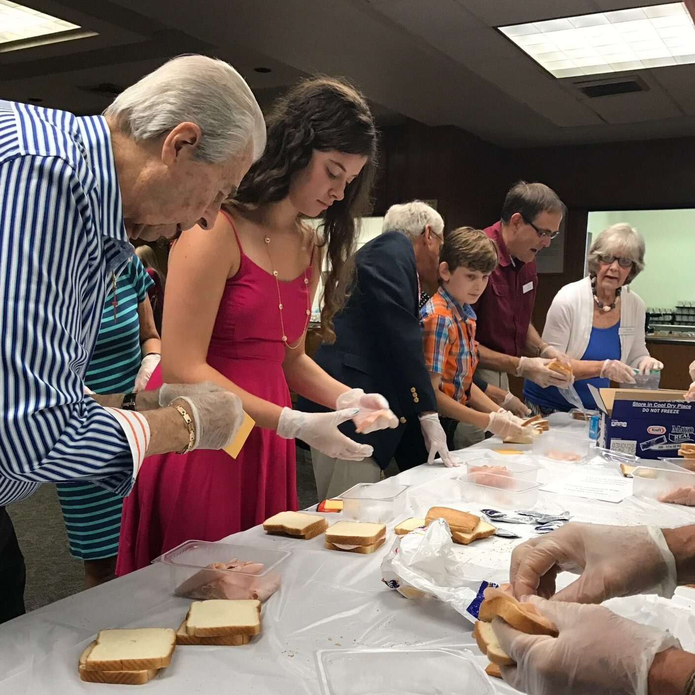 Making sandwiches for St. Patrick Center